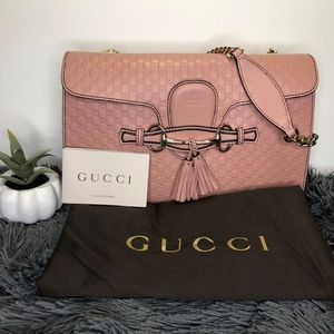 GUCCI EMILY PINK LEATHER SHOULDER Microguccissima